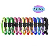 RYPET Reflective Cat Collar with Bell, Set of 12, Breakaway Cat Collar Identification Collars for Newborn Pets