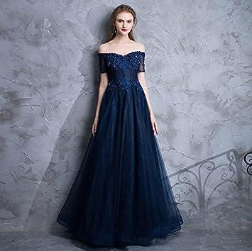 LUCKY-U Vestido largo mujer Azul Cuello V Cofre bajo Diseñado Elegante Único Fiesta Paseo