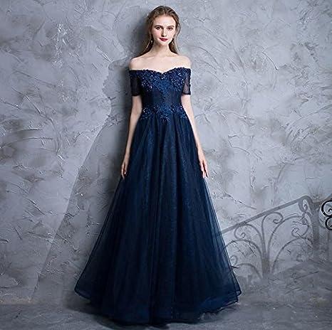 bf5a54b4ca2f LUCKY-U Abito Lungo Donna Donna Vestito Blu Collo V Petto Basso Progettato  Elegante Unico