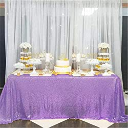 "B-COOL Lavender 90""X156"" Rectangle Sequin Tablecloth Wedding Sequin Tablecloth Sequin Table Decorations Sparkly Table Cover Sequin Wedding Party Tablecloth"