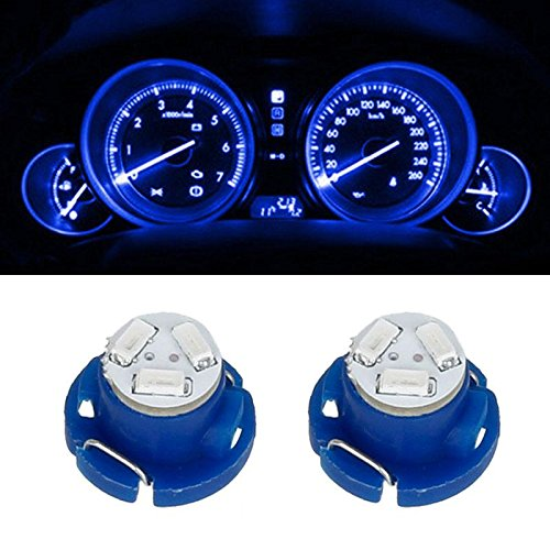 Partsam T5 T4.7 Neo Wedge Instrument Dashboard LED Light Bulbs 12mm 12V 3-SMD A/C Climate Heater Controls Instrument Panel Gauge Cluster Dashboard LED Light Bulbs Set – Blue (Pack of 2)