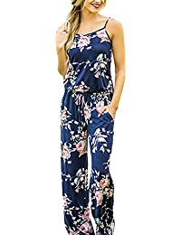 2602b75a572 Womens Jumpsuits Summer Floral Printed Spaghetti Strap Sleeveless Casual Jumpsuit  Rompers