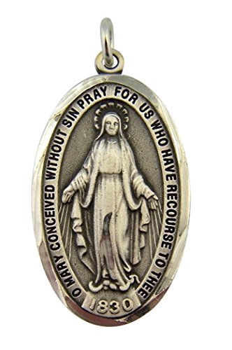 Plated Pewter Our Lady Miraculous Medal with Diamond Cut Border, 1 1/2 Inch