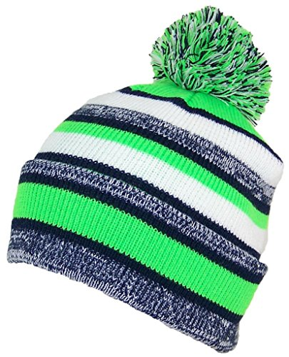 (Best Winter Hats Quality Striped Variegated Cuffed Beanie W/Large Pom (L/XL) - Navy/Neon Green)
