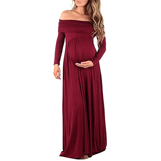 cb90d17ddc KMG Kimloog Pregnants Photography Props Women s Cowl Neck Off Shoulder Full  Sleeve Ruched Maternity Gowns Long