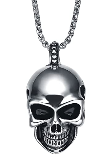 Stainless steel mens gothic smiling skull pendant necklace with 35 stainless steel mens gothic smiling skull pendant necklace with 35mm round link chain g2049d mozeypictures Images