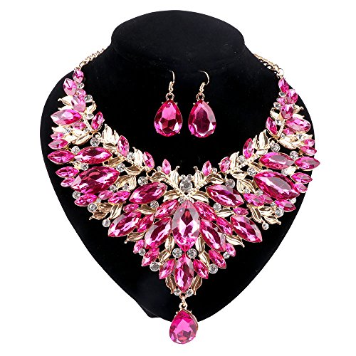 (Women 18K Gold Plated Rhinestone Crystal Pendant Necklace Earring Jewelry Sets (Pink))