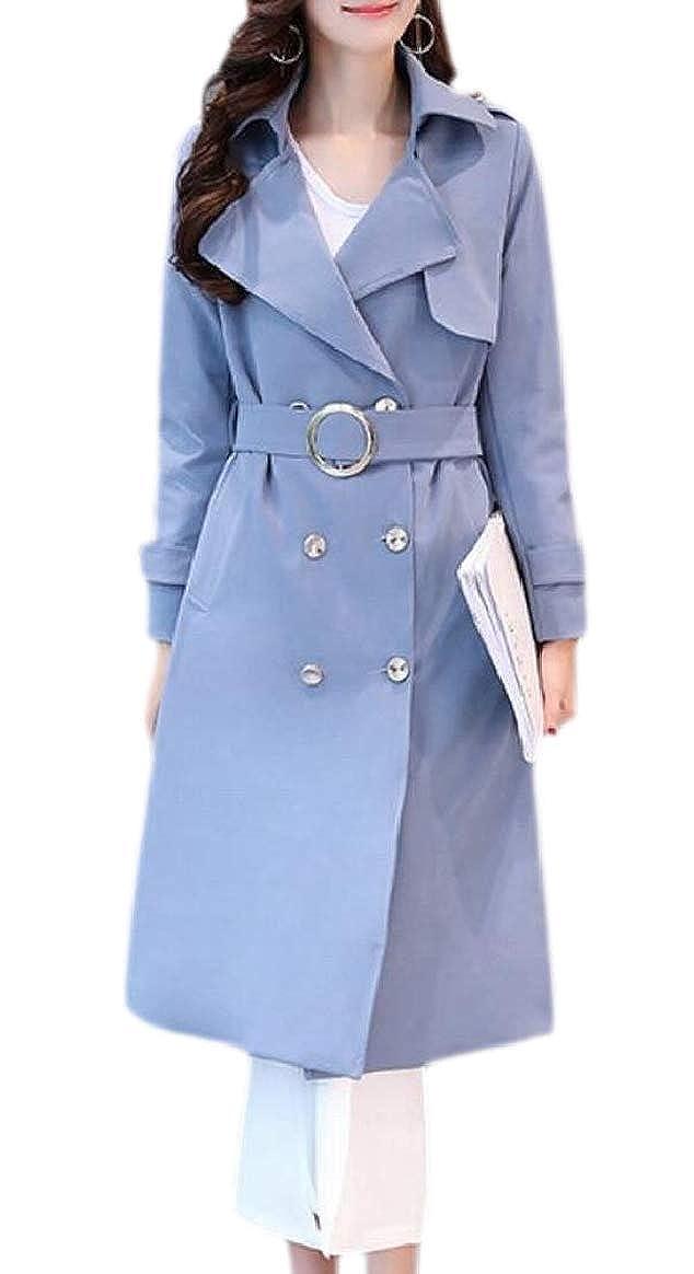 bluee pujinggeCA Women Plus Size Lapel Double Breasted Belt Outwears Trench Coat