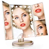 Easehold Vanity Makeup 2X 3X Magnifiers 21 LED Lights Tri-Fold 180 Degree Adjustable Countertop Cosmetic Bathroom Mirror Gold