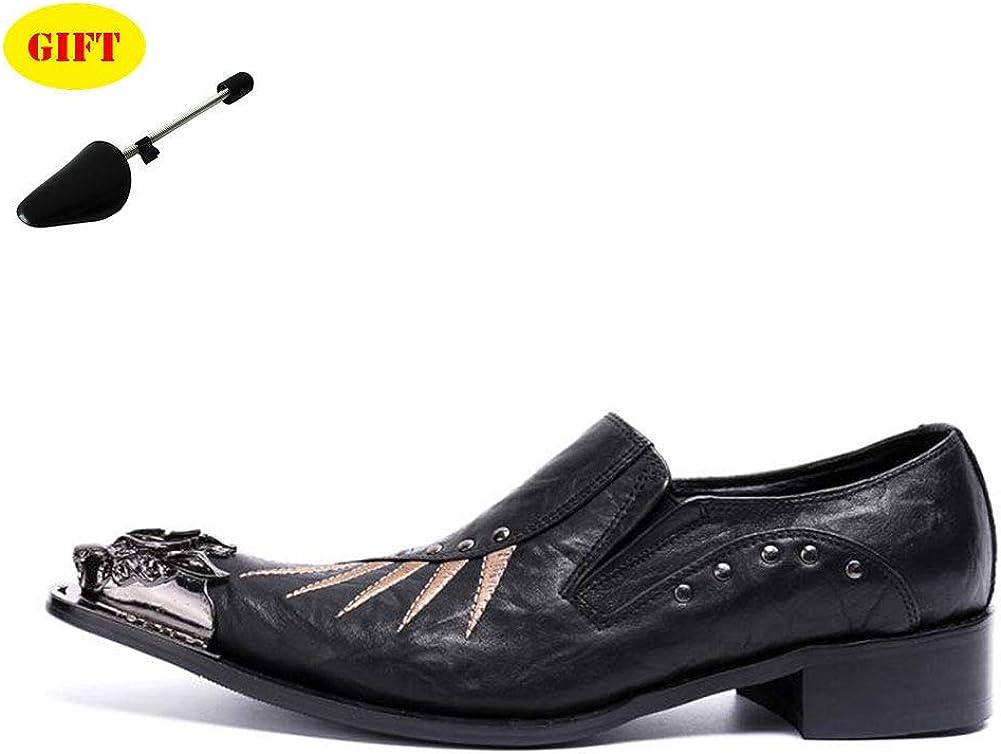 Nuevos Zapatos De Hombre Puntiagudos Zapatos De Cuero De Hierro Zapatos Street Fashion Set Foot Low Shoes Zapatos De Noche Party