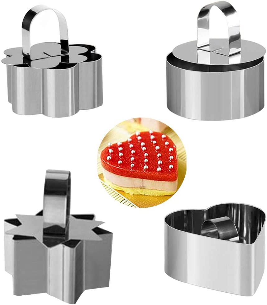 Set of 4 Cake Rings, Stainless Steel Food Rings Pastry Ring Mousse and Pastry Mini Baking Ring Mold, Dessert Set Molds With Pusher Rice Ball Mold for Desserts Making Catering Business cooking