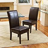 Cheap Christopher Knight Home T-stitch Chocolate Brown Leather Dining Chairs (Set of 2)
