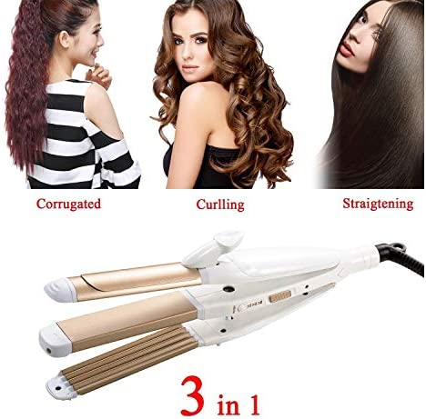 3 In 1 Hair Straightener Curler,Curling Wand 32mm Flat Iron Hair Curler and Ceramic Hair Straightener Professional Care Tools Wand Kit