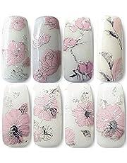 Pegatinas para uñas Oxforder, 108 unidades con diseño de flores doradas 3D. Adhesivos decorativos para uñas (Pink)