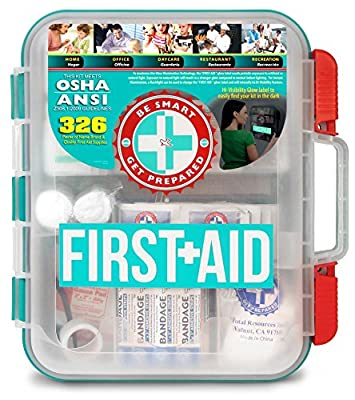 First Aid Kit Hard Teal Case 326 Pieces Exceeds OSHA and ANSI Guidelines from BIAF