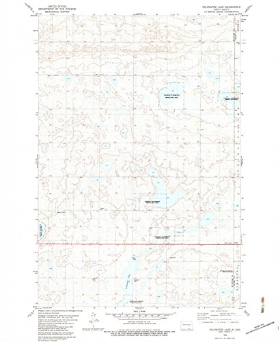 YellowMaps Coldwater Lake ND topo map, 1:24000 Scale, 7.5 X 7.5 Minute, Historical, 1982, Updated 1983, 26.8 x 22 in - Polypropylene
