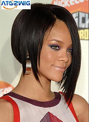 ATOZWIG@Shining Medium Straight Black African American Wigs for Women