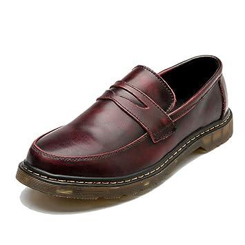 HILOTU Zapatos de vestir Oxford para hombre Casuales Cubiertas cómodas Pies con punta redonda Calzado de