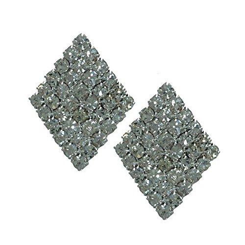 ULRIKE D'argent diamant cristal forme Clip sur boucles d'oreille