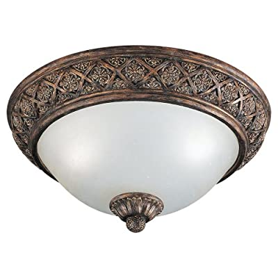 Sea Gull Lighting 2-Light Highlands Close-to-Ceiling Fixture, Dusted Ivory Glass Bowl