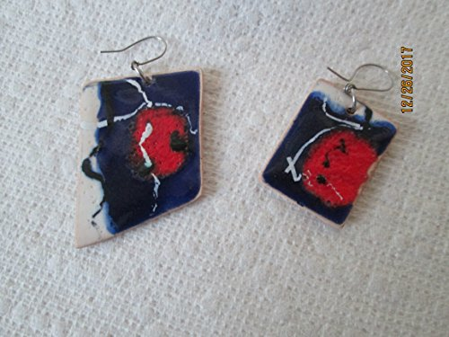 funky red white blue artists art modernist hand painted glazed abstract pottery dangle earrings fair trade handmade clay ceramic design