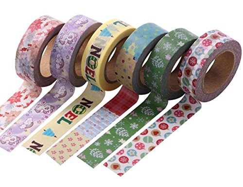6 Roll Christmas Series Washi Tape - 33 Ft/Roll - 0.6 Inch Wide Santa Claus Design Style of DIY Handmade for Hand Account Border Decoration with Narrow Side and Tear Decorative Sticker (Style A#)