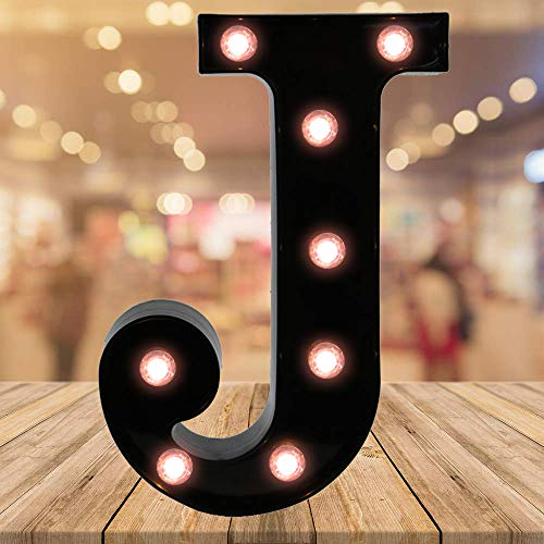 Oycbuzo Light up Letters LED Letter Black Alphabet Letter Night Lights for Home Bar Festival Birthday Party Wedding Decorative (Black Letter J) (Light Up Letter A Wall Decor)