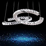 Dearlan Modern Crystal 2 C Ring Chandeliers Dia 15.74'' Ceiling Lighting Fixture Chandelier Lighting for Living Room Hotel Hallway Foyer Entry Bed Room