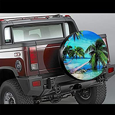 Tropical Palms Trees Navy Blue Ocean Beach Leader Accessories Spare Tire Cover,Waterproof Dust-Proof(Fit 23-32 Inches): Sports & Outdoors