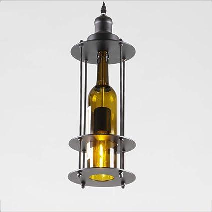 YJSY Lámpara De Botella De Vino Retro Lámpara Loft Estilo Industrial Lámpara De Botella De Vino