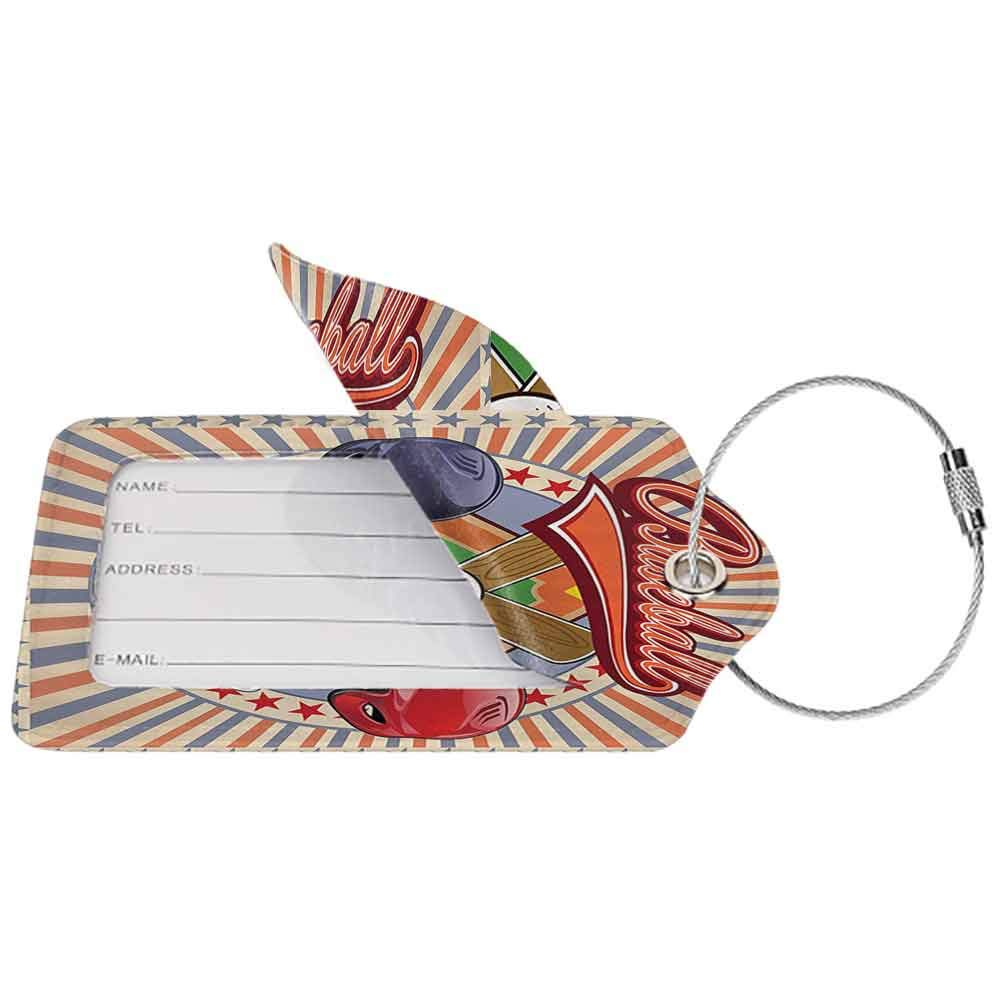 Multi-patterned luggage tag Sports Decor Retro Pop Art Style Baseball Logo with Vertical Striped Setting Bat and Ball Game Match Print Double-sided printing Multi W2.7 x L4.6