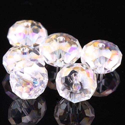 WEJOY Crystal Rondelle Beads Pick (3mm 4mm 6mm 8mm 10mm 12mm) (6mm Crystal ab 100 pcs) by Beads