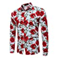 Winsummer Men's Floral Shirt Stylish Slim Fit Long Sleeve Casual Button Down Shirts