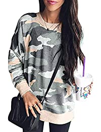 Womens Round Neck Leopard Print Long Sleeve Loose Casual Pullover Blouse Tops