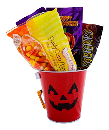 Halloween Candy Gift Basket - Includes Candy Corn, Skull and Bones Candy, Popping Candy and Halloween Metal Pail