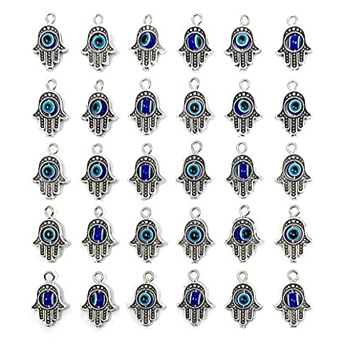 - 51k8HoCbaVL - 30PCS Antique Silver Hamsa Hand Evil Eye Bead of Fatima Symbol Charms – JIALEEY Hamsa Hand Beads Frame Charms for Jewelry Making Findings DIY Necklace Bracelet