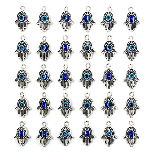 30PCS Antique Silver Hamsa Hand Evil Eye Bead of Fatima Symbol Charms - JIALEEY Hamsa Hand Beads Frame Charms for Jewelry Making Findings DIY Necklace Bracelet]()