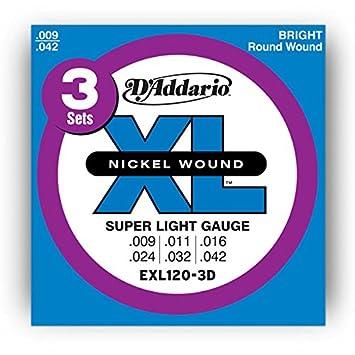 D Addario Nickel Wound Super Light - Cuerdas para guitarra eléctrica, 3 Sets con