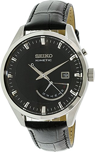 (Seiko Kinetic SRN045P2 Black Dial Black Leather Band Men's Watch)
