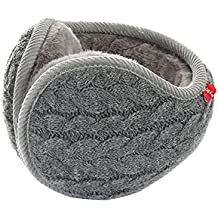 Warm Knitted Earmuffs Polemax Unisex Foldable Adjustable Wrap Pure Color Thicken Winter Outdoor Sport Knit Stripe Cashmere Ear Muffs with Fur Earwarmer for Men and Women