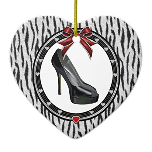 Lplpol Black Stiletto Zebra Personalized Heart Xmas Trees Home Ceramic Ornaments Porcelain Ornament Personalize ()