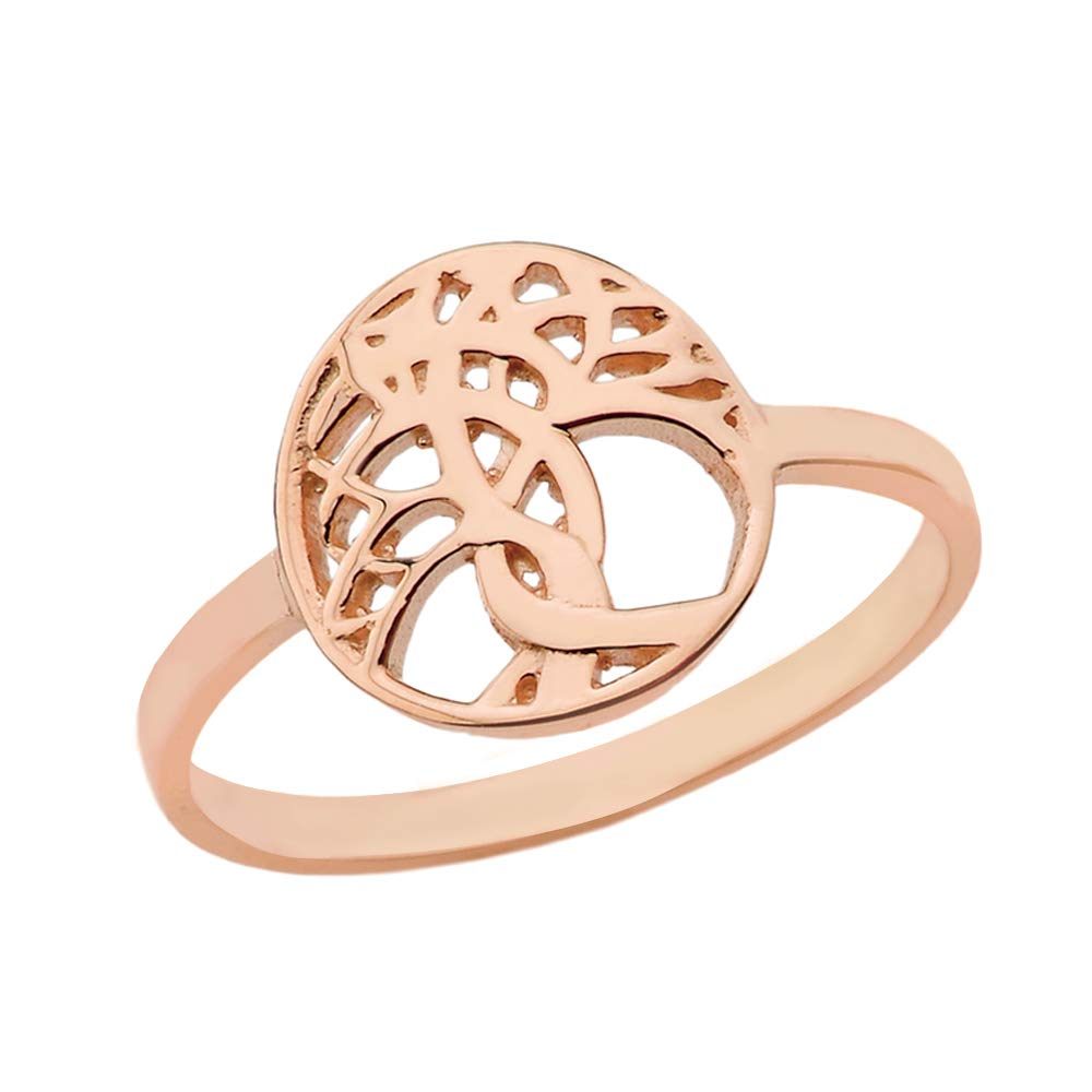 Women's Tree of Life Beautiful Ring Solid 14k Rose Gold Band (Size 10.25)