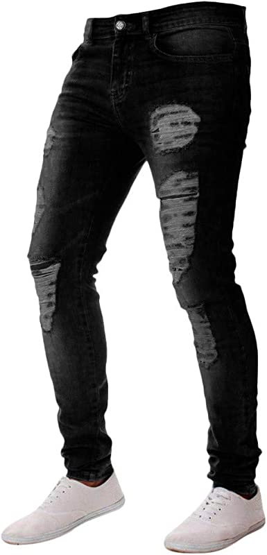 Men/'s Distressed Ripped Jeans Moto Black Denim Pants Slim Skinny Fit Trousers