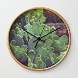 Society6 Southwest Sunset Wall Clock Natural Frame, Black Hands