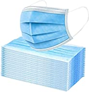 Premium Pack of 100 Single Use Disposable Face Mask, Soft on Skin, Pack of 3-Ply Masks Facial Cover with Elast