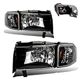 headlights for 1998 dodge - SPPC Crystal Headlights Black Assembly Set with Corner Light for Dodge Ram - (Pair) Includes Driver Left and Passenger Right Side Replacement Headlamp