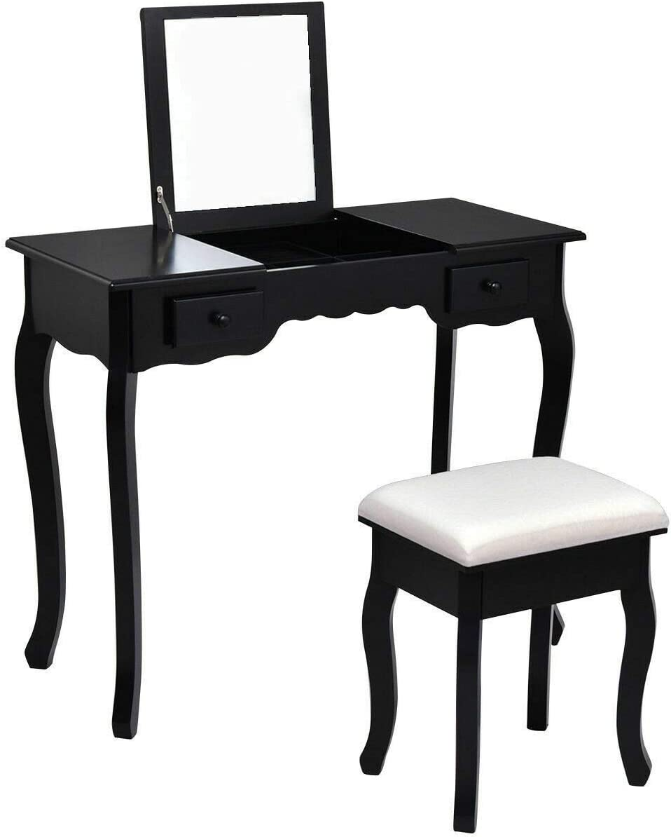 GOFLAME Makeup Vanity Table, Multifunctional Makeup Dressing Table Set with Cushioned Stool and Flip Top Mirror, Writing Desk with 2 Drawers, Suitable for Bedroom Dressing Room Black