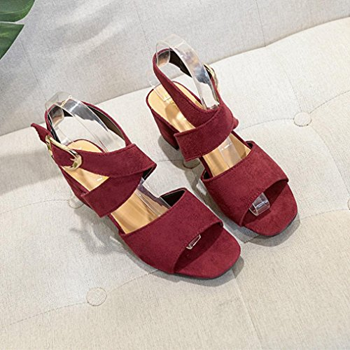 Sandalen Peep Tefamore Keil mit Frauen Dick Heels Toe High zpwxpf8aq