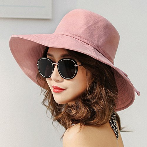 - Qchomee Ladies Foldable Shapeable Brim Sun Hat UPF 50+ Bucket Cap Wide Brim Beach Sunhat Travel Holiday Camping Gardening Walking Sun Protection Cap Adjustable Chin Strap Hat