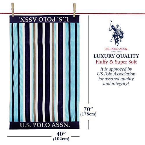 "U.S. Polo Assn. Oversized (40"" x 70"") Striped Nautical Design Beach Towel - Luxury Plush Cotton Hotel Quality for Bath, Pool - Sail Away Stripe"